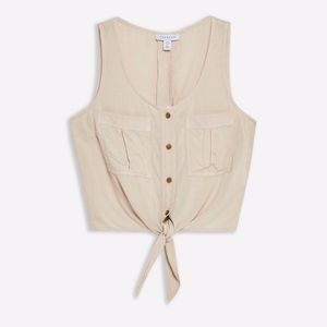 Sleeveless Knot Front Crop Top